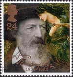Death Centenary of Alfred, Lord Tennyson (poet) 24p Stamp (1992) Tennyson in 1888 and The Beguiling of Merlin (Sir Edward Burne-Jones)
