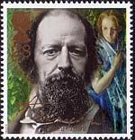 Death Centenary of Alfred, Lord Tennyson (poet) 28p Stamp (1992) Tennyson in 1856 and April Love (Arthur Hughes)