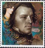 Death Centenary of Alfred, Lord Tennyson (poet) 39p Stamp (1992) Tennyson as a Young Man and Mariana (Dante Gabriel Rossetti)