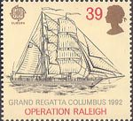 Europa. International Events 39p Stamp (1992) Kaisei (Japanses cadet brigantine) (Grand Regatta Columbus, 1992)