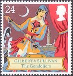 150th Birth Anniversary of Sir Arthur Sullivan (composer), Gilbert and Sullivan Operas 24p Stamp (1992) The Gondoliers