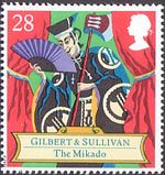 150th Birth Anniversary of Sir Arthur Sullivan (composer), Gilbert and Sullivan Operas 28p Stamp (1992) The Mikado