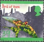 Protection of the Environment. Children's Paintings 39p Stamp (1992) Bird of Hope