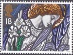 Christmas. Stained Glass Windows 18p Stamp (1992) Angel Gabriel, St James, Pangbourne