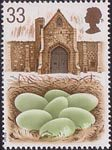 Swans 33p Stamp (1993) Eggs in Nest and Tithe barn, Abbotsbury