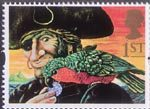 Greetings Stamps - Giving 1st Stamp (1993) Long John Silver and Parrot (Treasure Island)