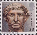 Roman Britain 28p Stamp (1993) Emperor Hadrian (bronze head)