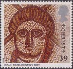 Roman Britain 39p Stamp (1993) Christ (Hinton St Mary mosaic)