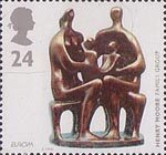 Europa - Art in the 20th Century 24p Stamp (1993) 'Family Group' (bronze sculpture) (Henry Moore)