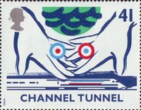 Opening of Channel Tunnel 41p Stamp (1994) Symbolic Hands over Train