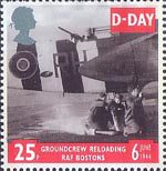 50th Anniversary of D-Day 25p Stamp (1994) Groundcrew replacing Smoke Cannisters on Douglas Boston of 88 Sqn