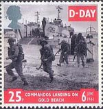 50th Anniversary of D-Day 25p Stamp (1994) Commandos landing on Gold Beach