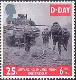 50th Anniversary of D-Day 25p Stamp (1994) Tank and Infantry advancing, Ouistreham