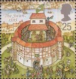 Reconstruction of Shakespeares Globe Theatre 25p Stamp (1995) The Swan, 1595