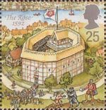 Reconstruction of Shakespeares Globe Theatre 25p Stamp (1995) The Rose, 1592