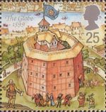 Reconstruction of Shakespeares Globe Theatre 25p Stamp (1995) The Globe, 1599