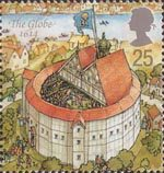 Reconstruction of Shakespeares Globe Theatre 25p Stamp (1995) The Globe, 1614
