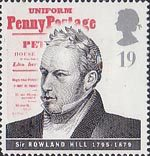 Communications 19p Stamp (1995) Sir Rowland Hill and Uniform Penny Postage Petition