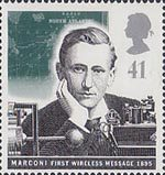 Communications 41p Stamp (1995) Guglielmo Marconi and Early Wireless