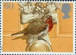 Christmas Robins 60p Stamp (1995) European Robin on Door Knob and Christmas Wreath