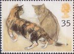 Cats 35p Stamp (1995) Kikko (tortoiseshell) and Rosie (Abyssinian)