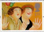 Greetings Stamp. 'Greetings in Arts' 1st Stamp (1995) 'Girls on the Town' (Beryl Cook)