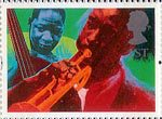 Greetings Stamp. 'Greetings in Arts' 1st Stamp (1995) 'Jazz' (Andrew Mockett)