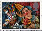 Greetings Stamp. 'Greetings in Arts' 1st Stamp (1995) 'Circus Clowns' (Emily Firmin and Justin Mitchell)
