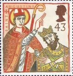 St Augustine and St Columba - Missions of Faith 43p Stamp (1997) St Augustine with King Ethelbert