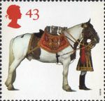 'All The Queens Horses'. 50th Anniversary of the British Horse Society 43p Stamp (1997) Household Cavalry Drum Horse and Drummer