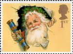Christmas. 150th Anniversary of the Christmas Cracker 1st Stamp (1997) Father Christmas with Traditional Cracker