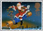 Christmas. 150th Anniversary of the Christmas Cracker 31p Stamp (1997) Father Christmas riding Cracker