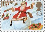 Christmas. 150th Anniversary of the Christmas Cracker 43p Stamp (1997) Father Christmas on Snowball