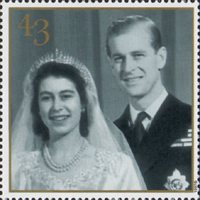 Royal Golden Wedding 43p Stamp (1997) Wedding Photograph, 1947