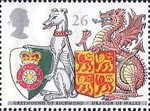 The Queens Beasts 26p Stamp (1998) Greyhound of Richmond and Dragon of Wales