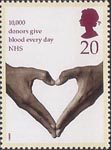 Health 20p Stamp (1998) Hands forming Heart