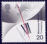 Millennium Series. The Inventors' Tale 20p Stamp (1999) Greenwich Meridian and Clock (John Harrison's chronometer)