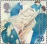 Millennium Series. The Patients's Tale 26p Stamp (1999) Patient on Trolley (nursing care)