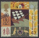 Millennium Series. The Settlers' Tale 43p Stamp (1999) Sailing Ship and Aspects of Settlement (19th-century migration to Australia)