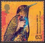 Millennium Series. The Settlers' Tale 63p Stamp (1999) Hummingbird and Superimposed Stylised Face (20th-century migration to Great Britain)
