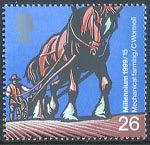 Millennium Series. The Farmers' Tale 26p Stamp (1999) Horse-drawn Rotary Seed Drill (Mechanical farming)