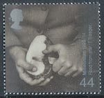 Millennium Series. The Farmers' Tale 44p Stamp (1999) Man peeling Potato (Food Imports)