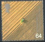 Millennium Series. The Farmers' Tale 64p Stamp (1999) Aerial View of Combine Harvester (Satellite agriculture)