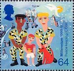 Millennium Series. The Soldiers' Tale 64p Stamp (1999) Soldiers with Boy (Peace-keeping)
