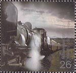 Millennium Projects (2nd Series). 'Fire and Light' 26p Stamp (2000) Garratt Steam Locomotive No. 143 pulling Train (Eheilffordd Eyri, Welsh Highland Railway)