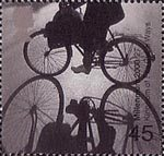 Millennium Projects (7th Series). 'Stone and Soil' 45p Stamp (2000) Cyclist (Kingdom of Fife Cycle Ways, Scotland)