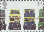 150th Anniversary of First Double-Decker Bus 1st Stamp (2001) AEC Regent 1, Daimler COG5, Utility Guy Arab Mk II and AEC Regent III RT Type