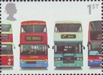 150th Anniversary of First Double-Decker Bus 1st Stamp (2001) Daimler Fleetline CRG6LX-33, MCW Metrobus DR102/43, Leyland Olympian ONLXB/1R and Dennis Trident