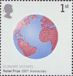 Centenary of Nobel Prizes 1st Stamp (2001) Globe (Economic Sciences)