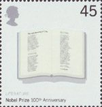 Centenary of Nobel Prizes 45p Stamp (2001) Poem 'The Adressing of Cats' by T.S.Eliot in Open Book (Literature)